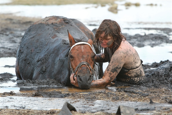 Woman battles for 3 hours to save her stuck horse from rising tide